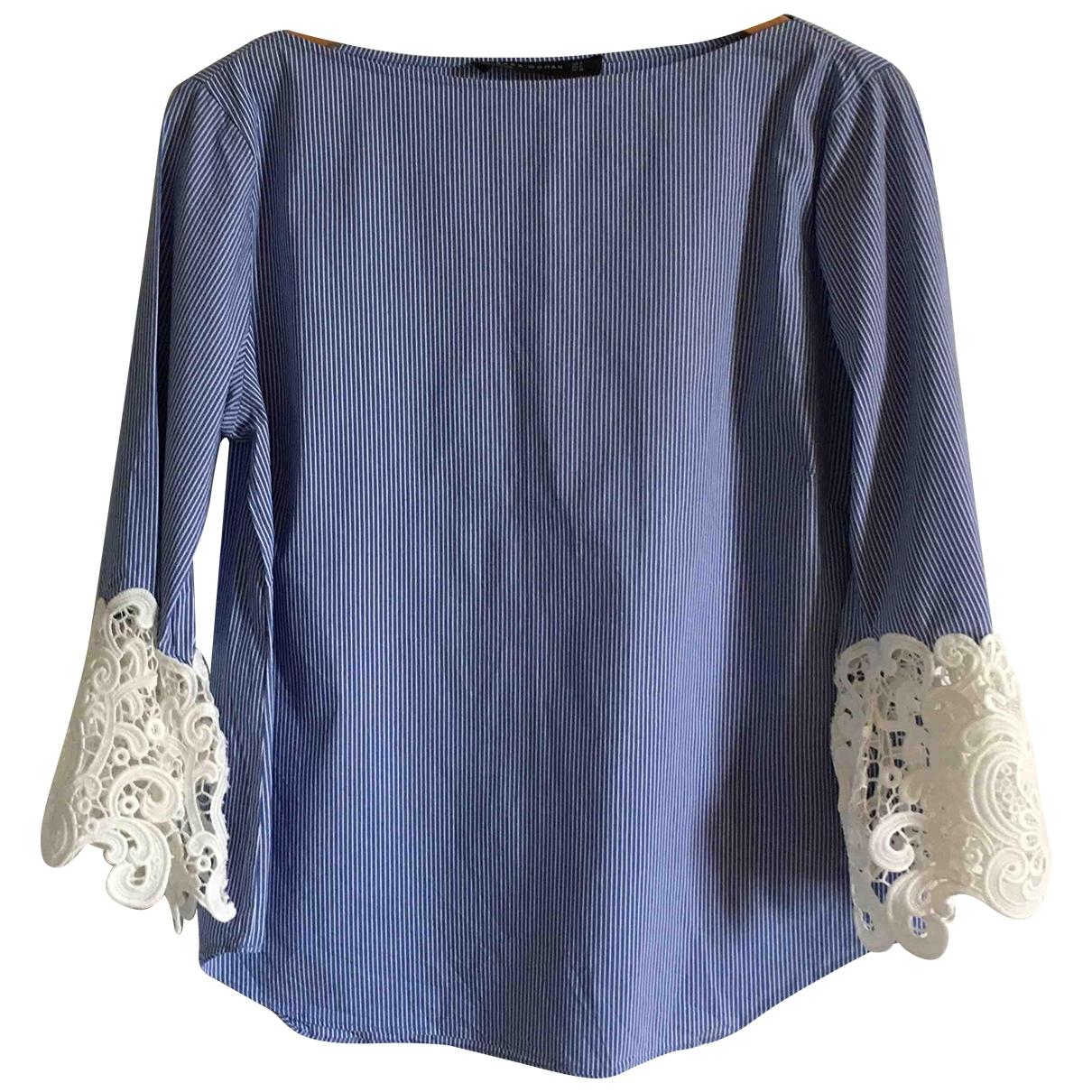 Zara - Top   pour femme en coton - bleu