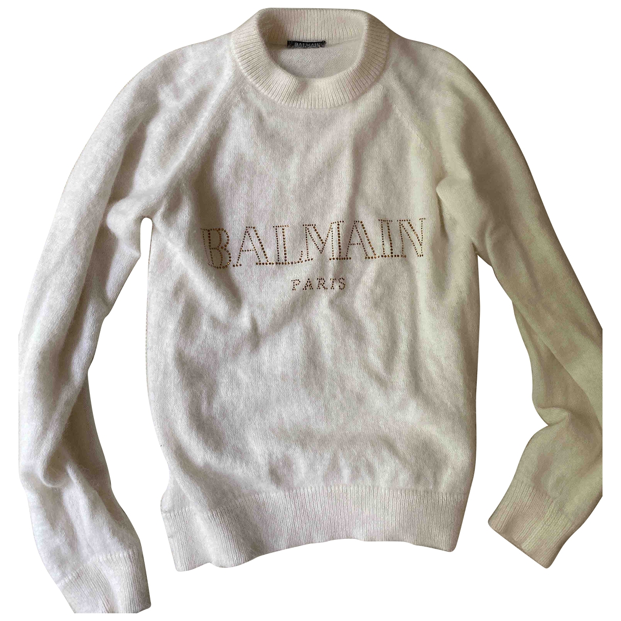Balmain \N Pullover in  Weiss Wolle