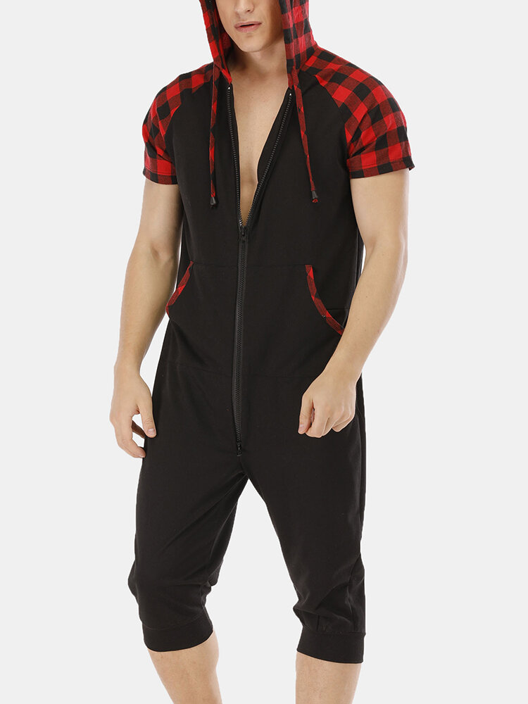 Mens Red Plaid Patchwork Jumpsuits Short Sleeve Hooded Pajamas