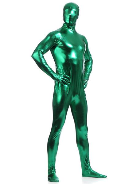 Milanoo Disfraz Halloween Verde oscuro metalico brillante Zentai trajes de hombres Halloween