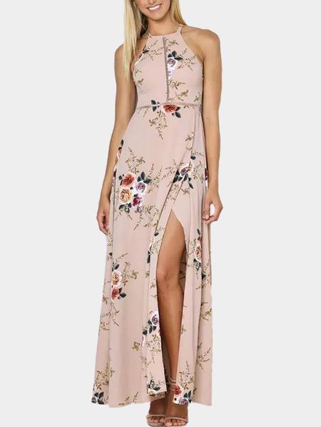 Yoins Khaki Randon Floral Print Side Slit Halter Dress with Lace-up Design