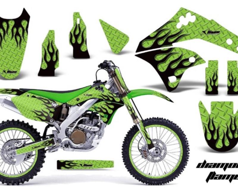 AMR Racing Graphics MX-NP-KAW-KX250F-06-08-DF G K Kit Decal Sticker Wrap + # Plates For Kawasaki KX250F 2006-2008áDIAMOND FLAMES GREEN BLACK