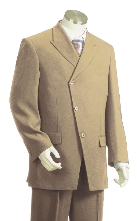 3 Piece 3 Button Taupe Vested Zoot Suit Mens