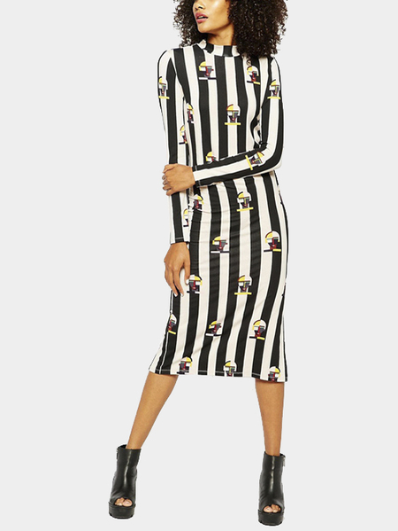 Yoins High Neck Stripe Midi Dress with Side Splits
