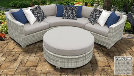 Fairmont Collection FAIRMONT-04a-ASH 4-Piece Wicker Patio Set with Round Coffee Table  Curved Armless Chair  Left Arm Chair and Right Arm Chair -