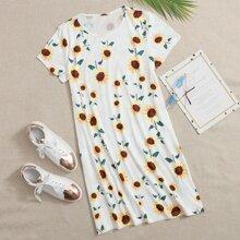 Sunflower Print Tee Dress
