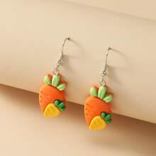 Maedchen Ohrringe mit Karotten Dekor