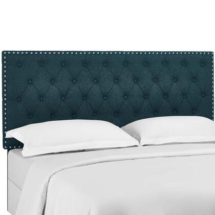Helena Collection MOD-5860-AZU Tufted Full / Queen Upholstered Linen Fabric Headboard in Azure