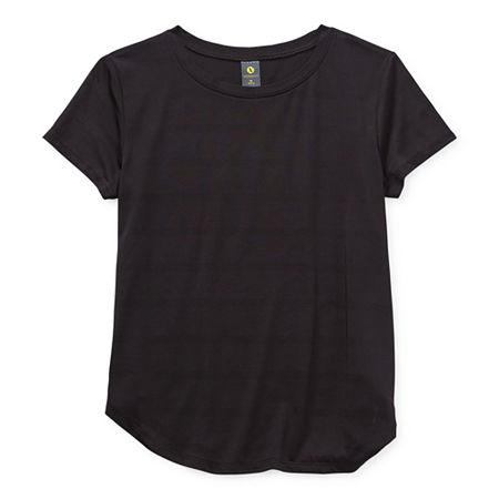 Xersion Little & Big Girls Round Neck Short Sleeve T-Shirt, Medium (10-12) , Black