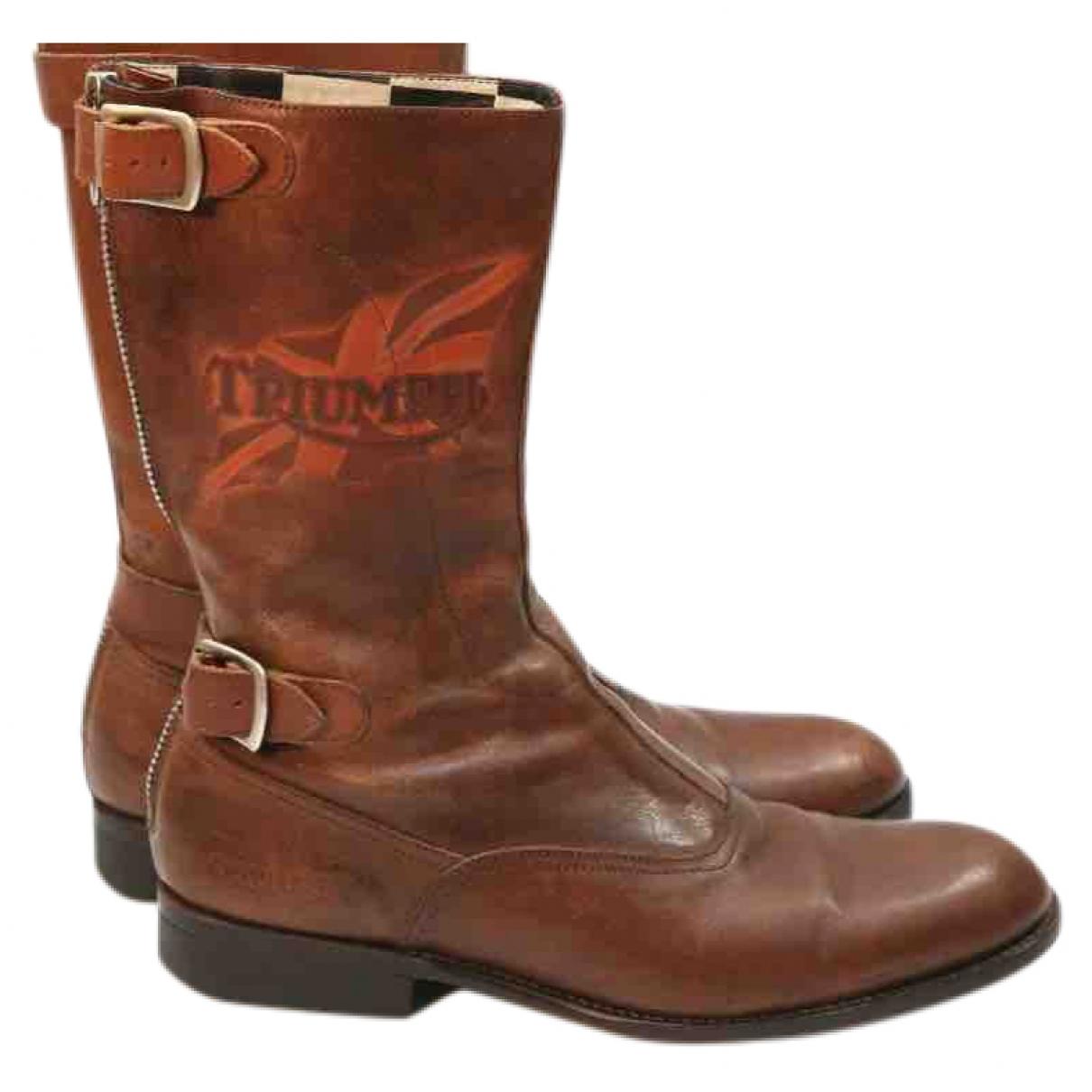Paul Smith - Bottes.Boots   pour homme en cuir - marron