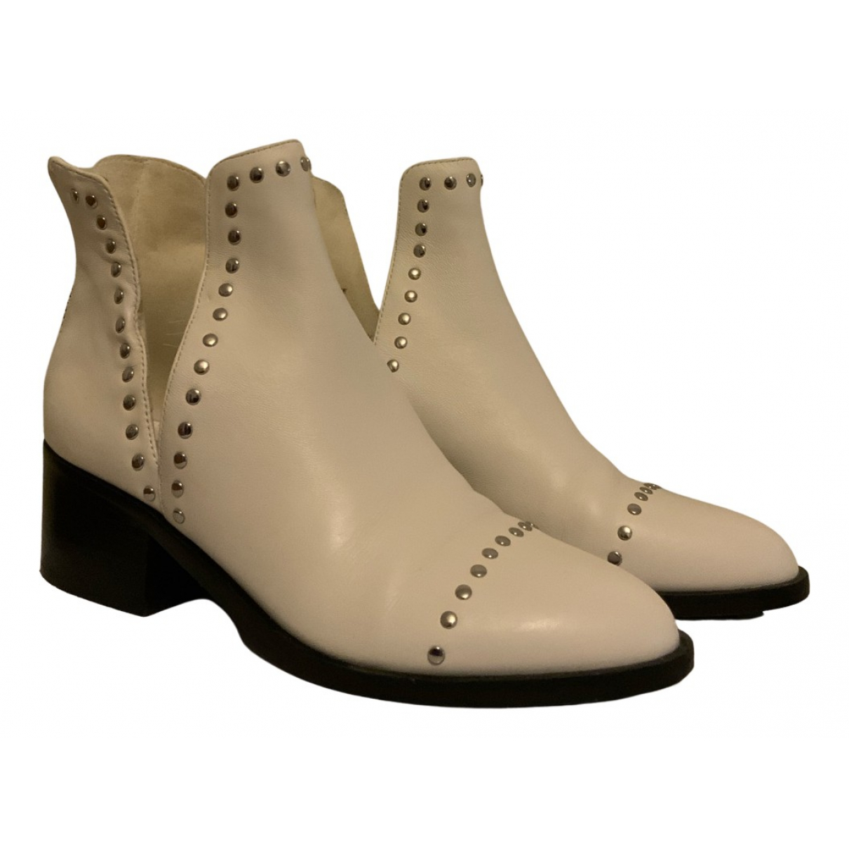 Steve Madden N White Leather Ankle boots for Women 36 IT