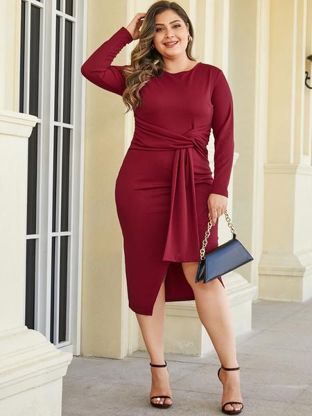 YOINS Plus Size Red Slit Design Neck Long Sleeves Dress