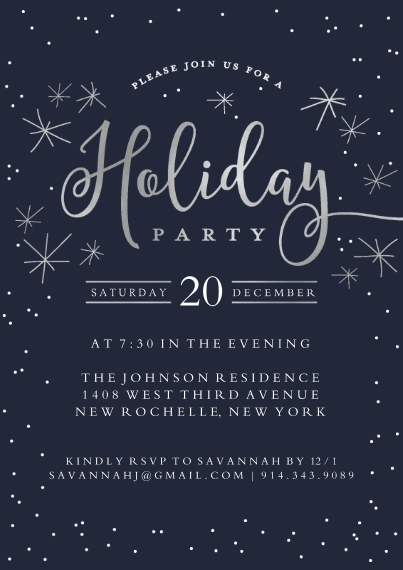Christmas & Holiday Party Invitations 5x7 Cards, Standard Cardstock 85lb, Card & Stationery -Holiday Invite Dots & Stars