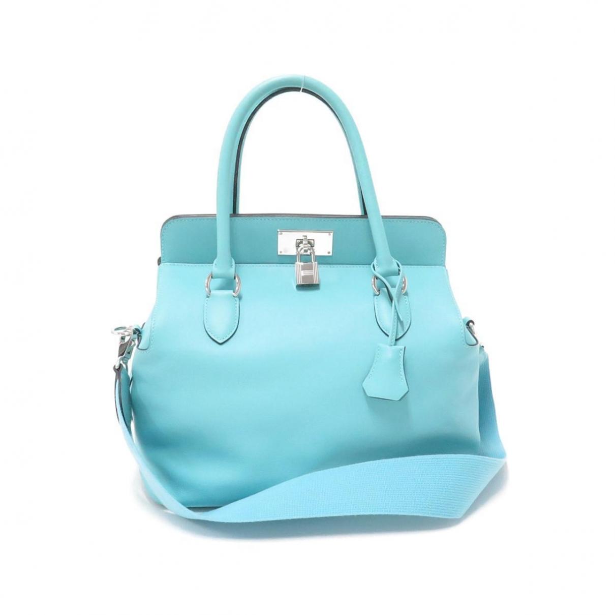 Hermes Toolbox Handtasche in  Blau Leder