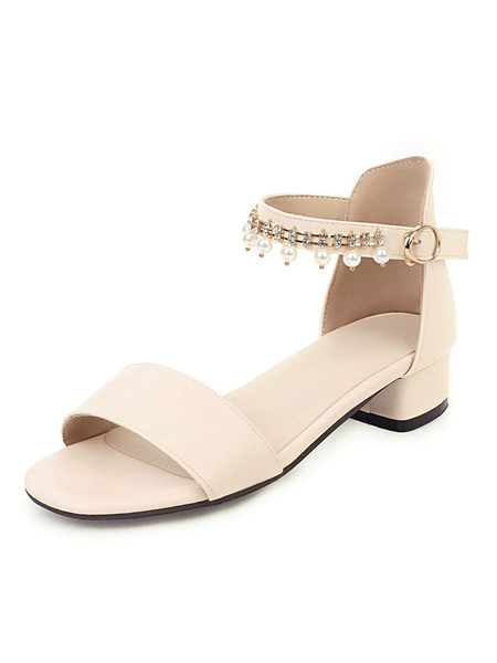 Milanoo Women Sandals Puppy Heel Pearls Chic Sandals Slip-On Peep Toe Plus Size Ankle Strap Sandals