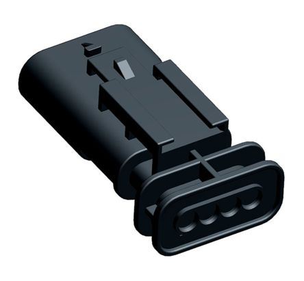 TE Connectivity , MCON 1.2 Automotive Connector Plug 1 Row 4 Way, Black