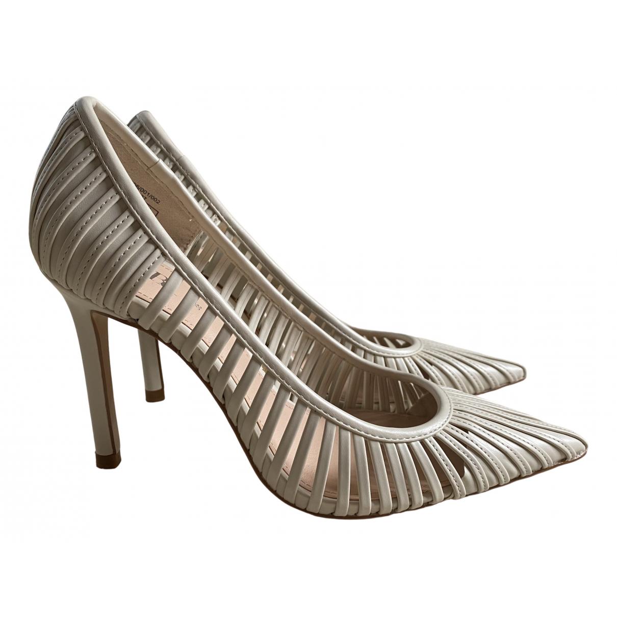 Zara \N White Leather Heels for Women 38 EU