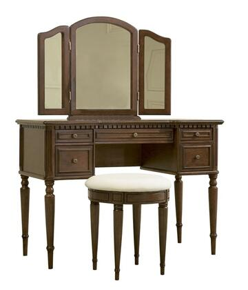 429-290 Vanity  Tri-Fold Mirror and Round Stool with Dentil Molding frame  Five Working Drawers and Turned Spindle Legs in Warm