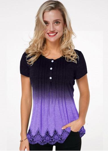 Crinkle Chest Lace Hem Ombre T Shirt - M