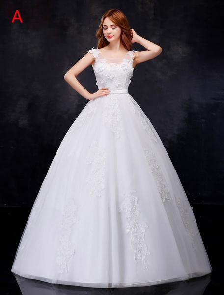 Milanoo Wedding Dresses Princess Ball Gowns 3D Flowers Backless Illusion Sash Ivory Bridal Dress