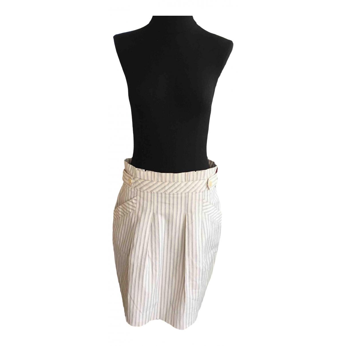 Bcbg Max Azria - Jupe   pour femme en coton - elasthane - ecru