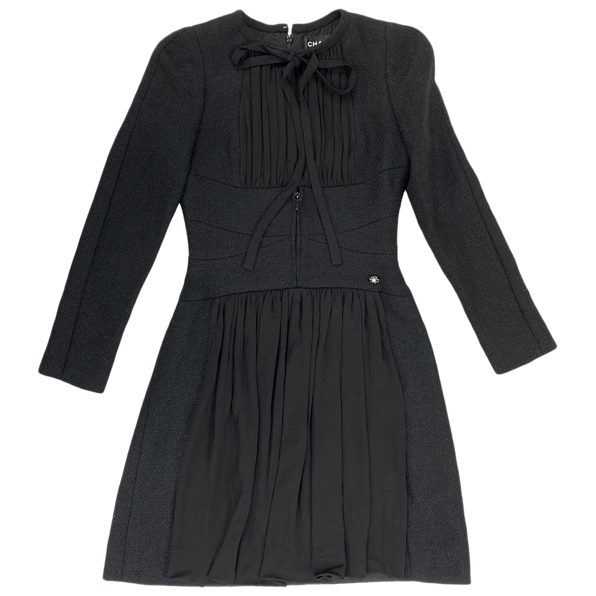 Chanel - Robe   pour femme en tweed - noir
