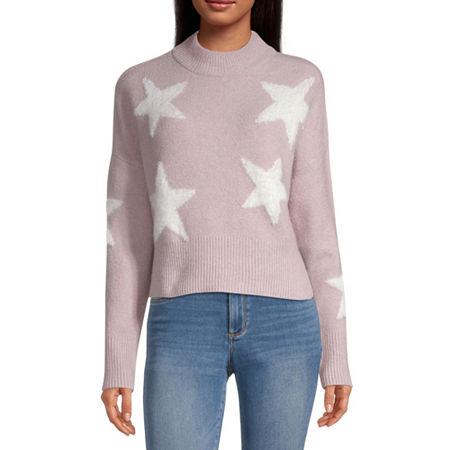 Arizona-Juniors Womens Mock Neck Long Sleeve Star Pullover Sweater, Medium , Pink