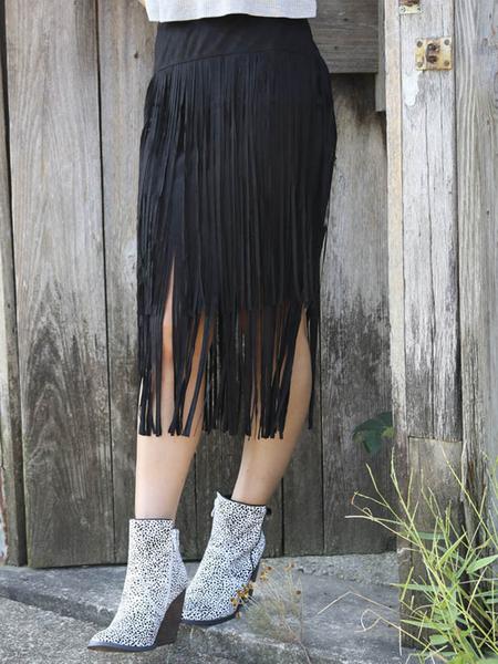 Yoins Black Tassel Midi Skirt with Step Hem