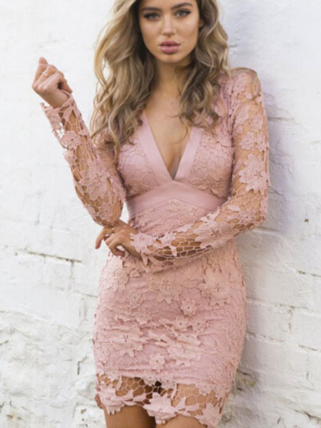 Milanoo Pink Lace Dress Sexy Backless V Neck Bodycon Dress For Women
