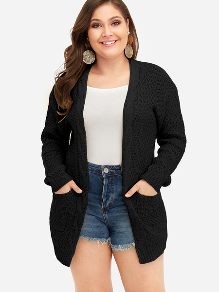 Yoins Plus Size Black Pocket Design Knit Cardigan