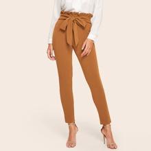 Pantalones solidos de cintura con lazo ribete fruncido