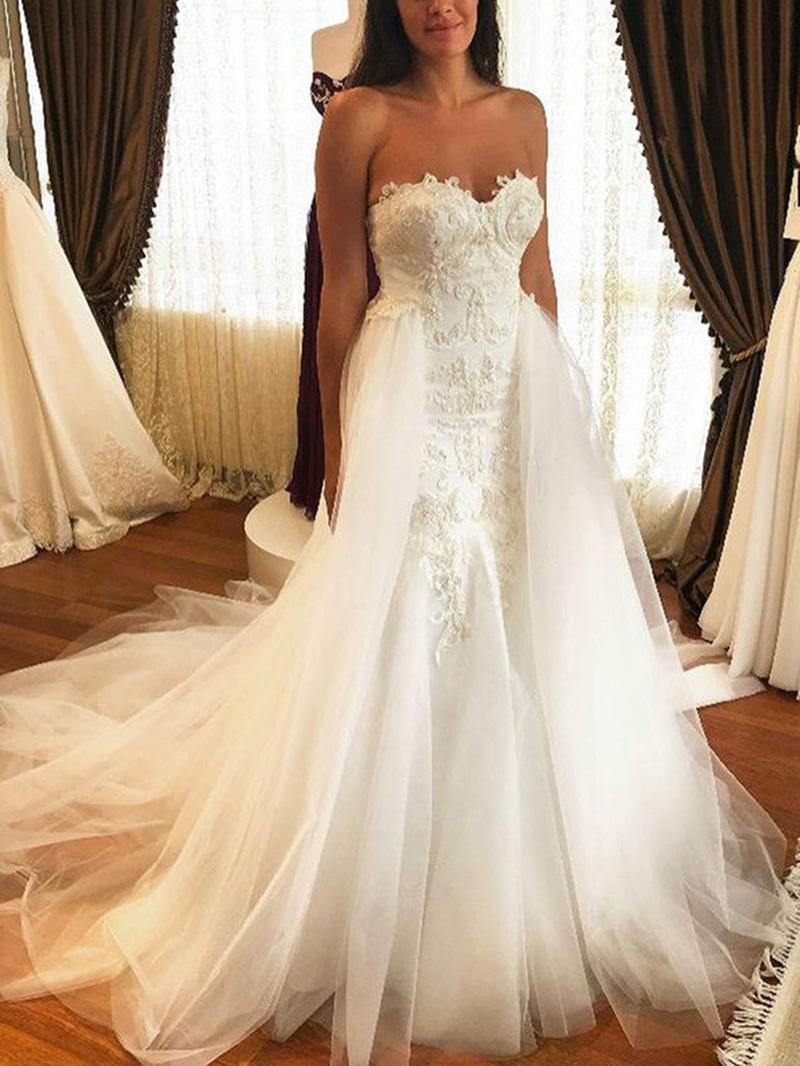 Ericdress Watteau Train Appliques Wedding Dress