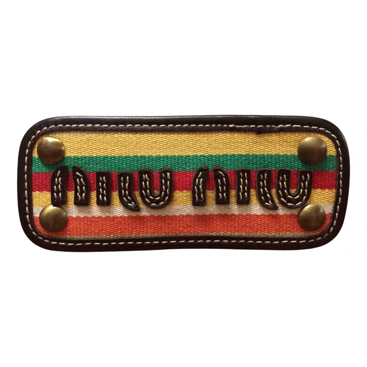 Miu Miu - Broche   pour femme en cuir - multicolore
