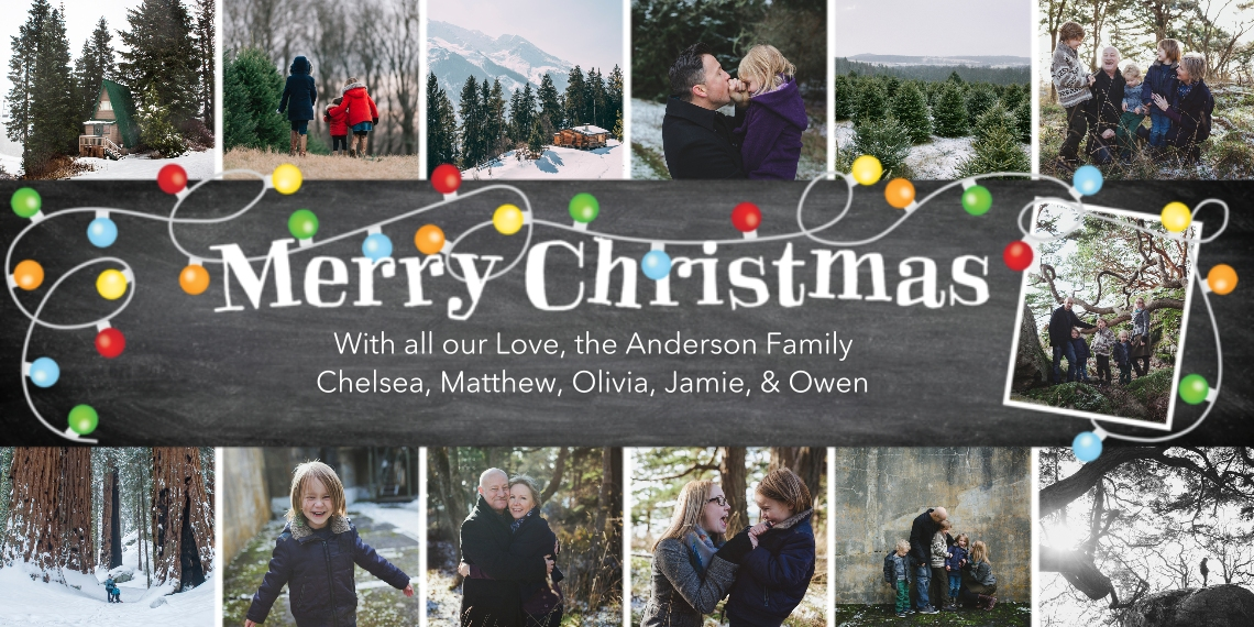 Christmas Photo Cards Flat Glossy Photo Paper Cards with Envelopes, 4x8, Card & Stationery -Christmas Globe Lights Collage