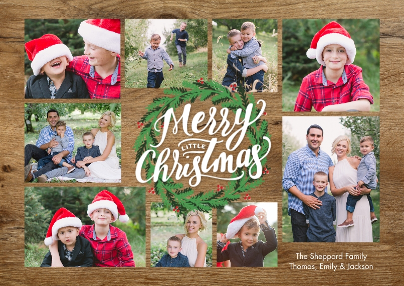 Christmas Photo Cards Flat Glossy Photo Paper Cards with Envelopes, 5x7, Card & Stationery -Christmas Green Wreath