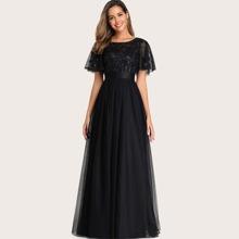 Sequin Bodice Ribbon Waist Mesh Prom Dress