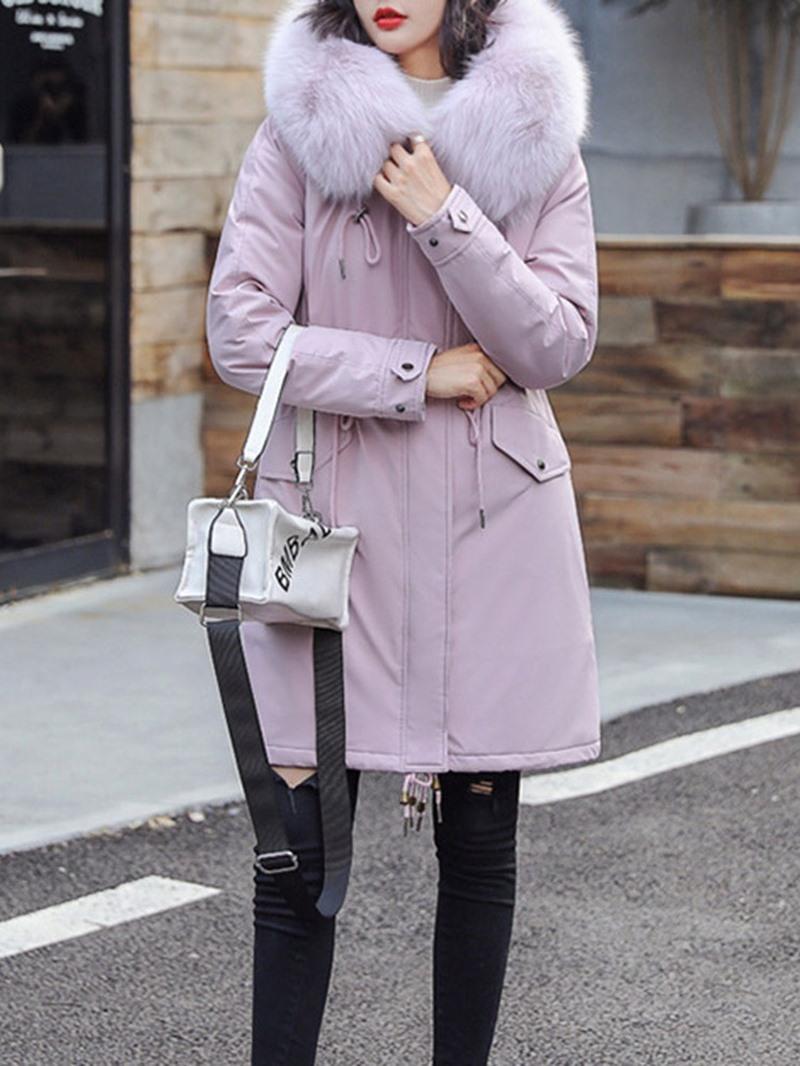 Ericdress A Line Zipper Mid-Length Women's Cotton Padded Jacket