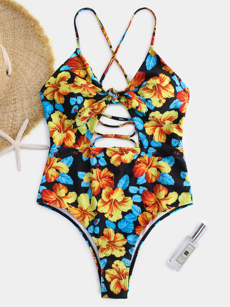 Yoins Yellow Random Floral Criss-cross Tie-up Design Sexy Bikinis