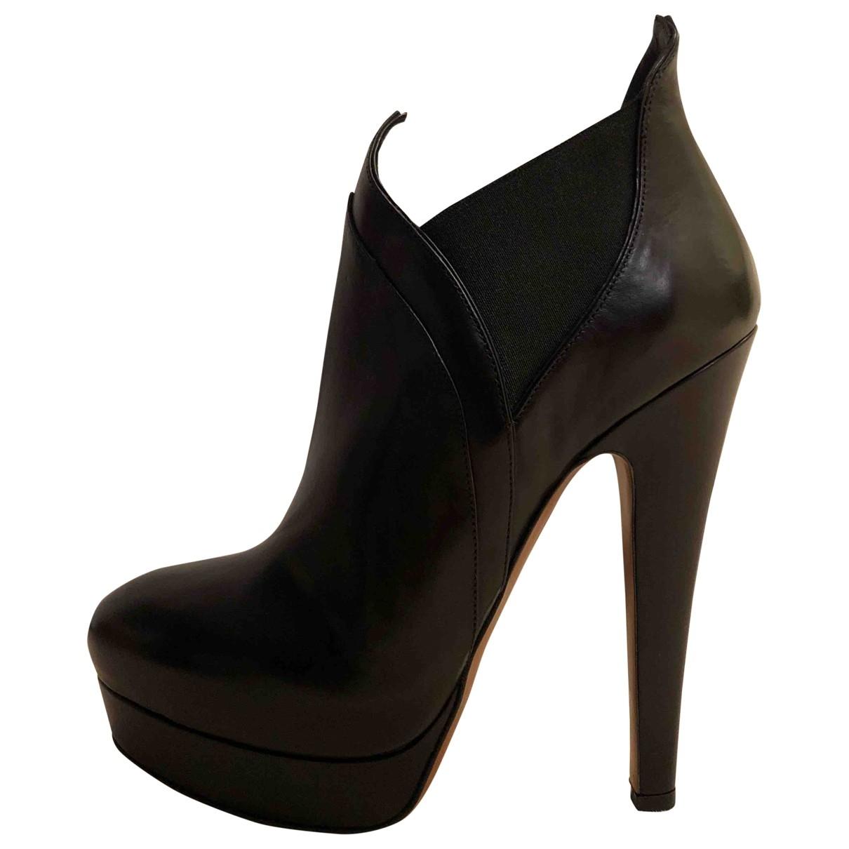 Alaia \N Stiefeletten in  Schwarz Leder