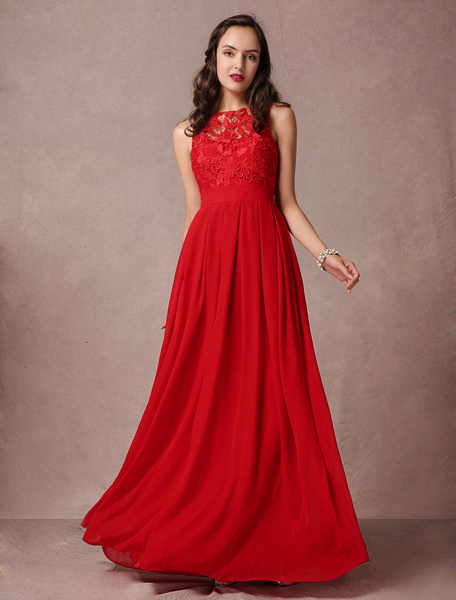 Milanoo Red Prom Dress Lace Maxi Evening Dress Backless A-line Floor-length Chiffon Party Dress