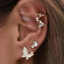 4pcs Rhinestone Decor Earrings