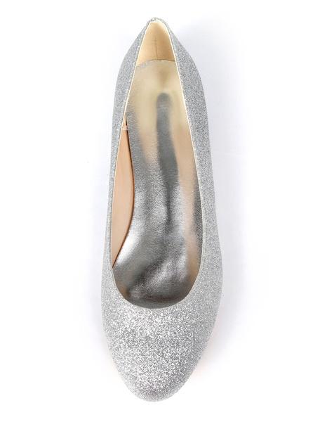 Milanoo Silver Wedding Shoes Glitter Round Toe Slip On Bridesmaid Shoes Women Ballet Flats