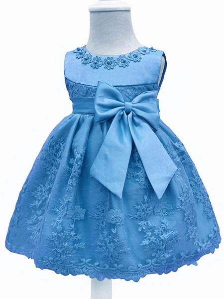 Milanoo Flower Girl Dresses Lace Bow A Line Kids Short Formal Party Dress