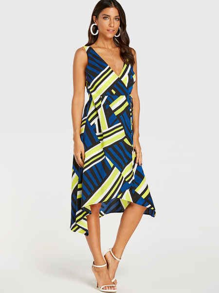 YOINS Multi Geo Print V-neck Sleeveless Wrap Dress