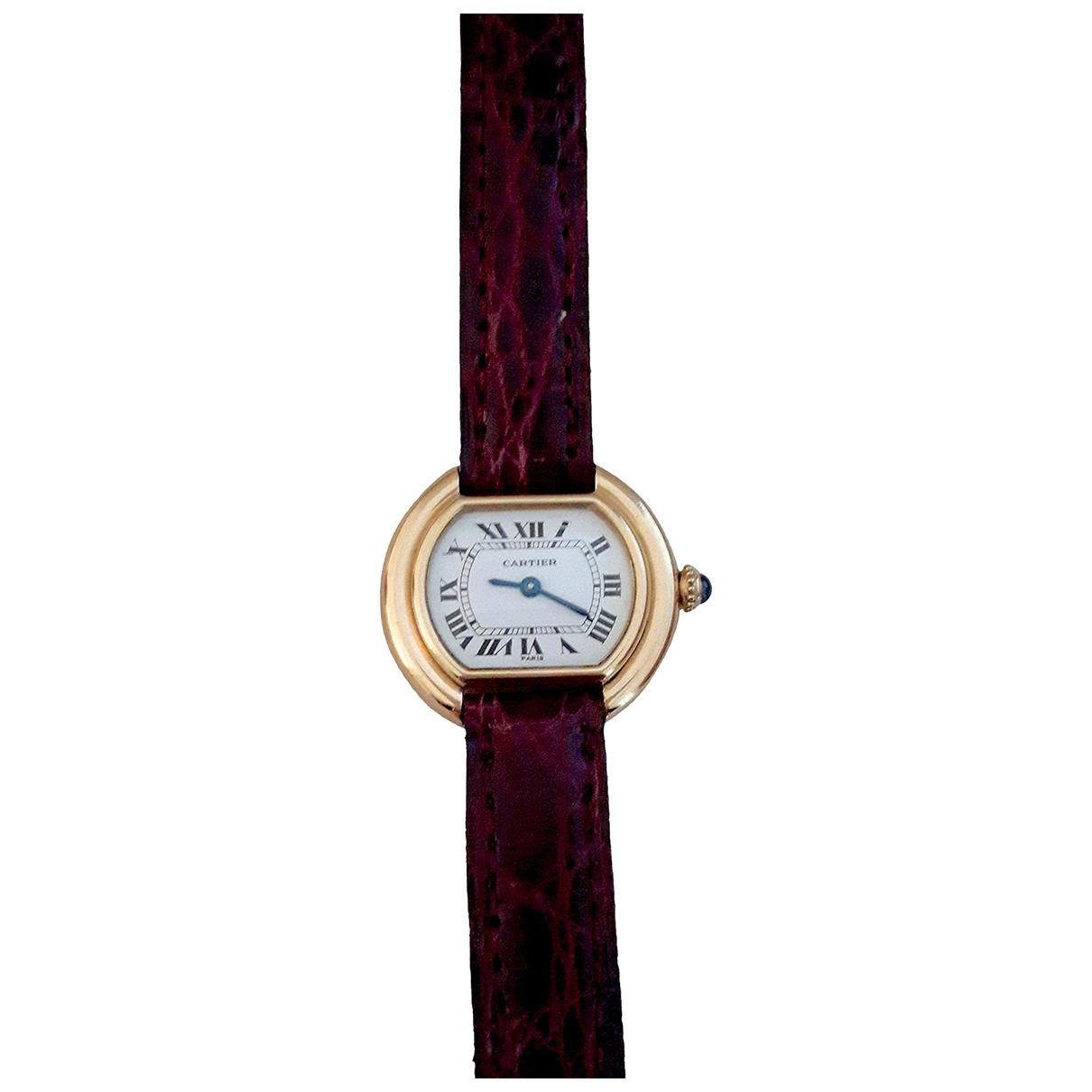 Cartier \N Uhr in  Weiss Gelbgold