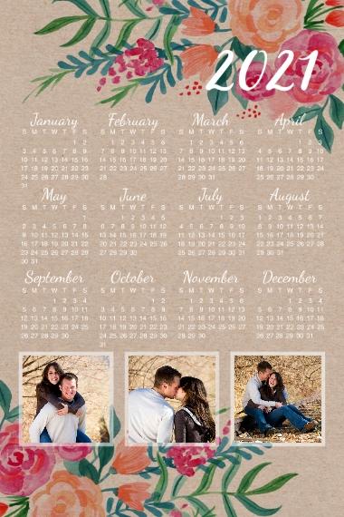 Calendar 24x36 Adhesive Poster, Home Décor -2021 Rustic Calendar