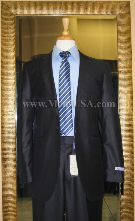 1 Button Navy Solid 1 WoolFlat Front Fitted Suit
