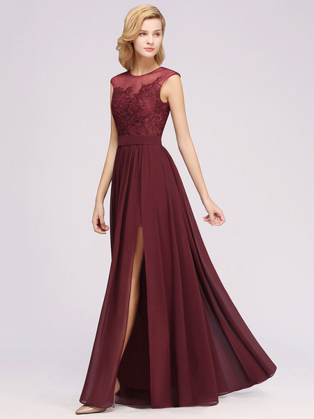 Milanoo Bridesmaid Dresses A Line Illusion Neck Floor Length Zipper Matte Chiffon Wedding Party Dress