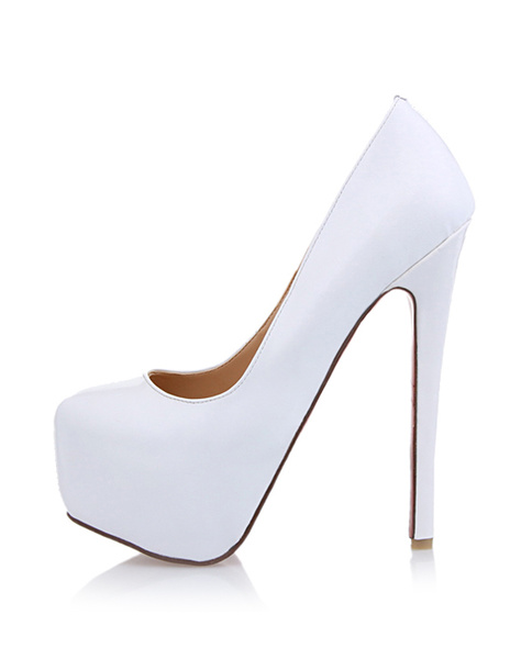 Milanoo Women's White Platform Heels Patent Leather Round Toe Stiletto heel Pumps Heeled Shoes
