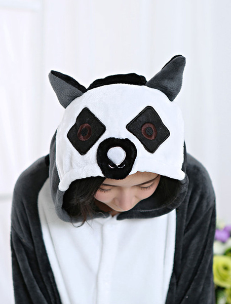 Milanoo Kigurumi Pajamas Monkey Onesie Black Flannel Animal Winter Sleepwear For Adult Unisex Back With Zipper Halloween